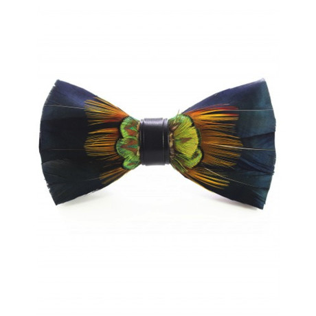 Duck Feather Bow Tie V3 // Blue + Yellow