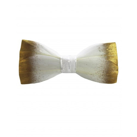 Duck Feather Bow Tie // White + Gold