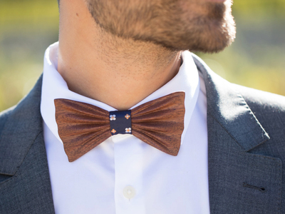 Photo of Fabliot by Le Chic Français Silk, Wood, & Feather Ties Sapelli Flower Wood Bow Tie // Navy by Touch Of Modern