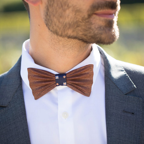 Sapelli Flower Wood Bow Tie // Navy