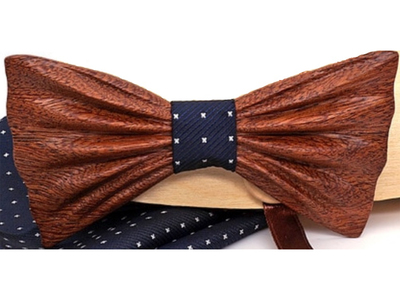 Photo of Fabliot by Le Chic Français Silk, Wood, & Feather Ties Sapelli Dash Wood Bow Tie // Navy by Touch Of Modern