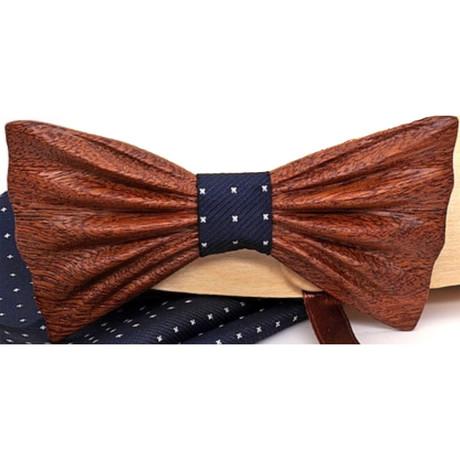 Sapelli Dash Wood Bow Tie // Navy