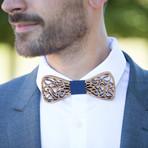 Zebrano Wood Bow Tie // Sky Blue
