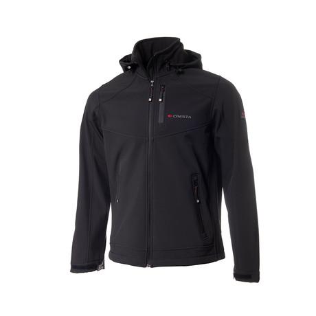 Hooded Chest Zipper Jacket // Black (S)