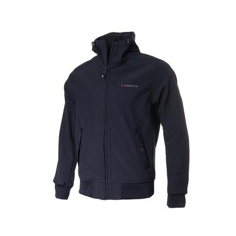 Button-Pocket Zip-Up Jacket // Dark Blue (S)
