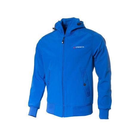 Button-Pocket Zip-Up Jacket // Sax Blue (S)