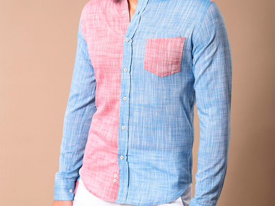 Photo of Wessi Stylish Button-Ups Filiberto Slim-Fit Shirt // Blue + Red (S) by Touch Of Modern