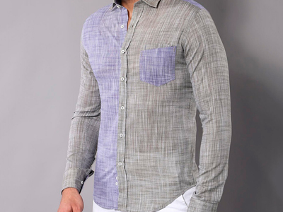 Photo of Wessi Stylish Button-Ups Santiago Slim-Fit Shirt // Navy + Gray (S) by Touch Of Modern