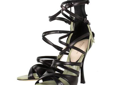 Photo of The Designer Shoe Collection Valentino, Ferragamo + More Bottega Veneta // Leather Open Toe Heels // Black + Green (Euro: 34.5) by Touch Of Modern