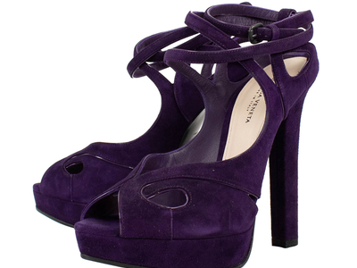 Photo of The Designer Shoe Collection Valentino, Ferragamo + More Bottega Veneta // Open Toe Suede Block Heels // Purple (Euro: 36.5) by Touch Of Modern