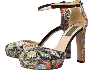 Photo of The Designer Shoe Collection Valentino, Ferragamo + More Valentino // Rhinestone Floral Design Leather Heels // Multi-Color (Euro: 36) by Touch Of Modern