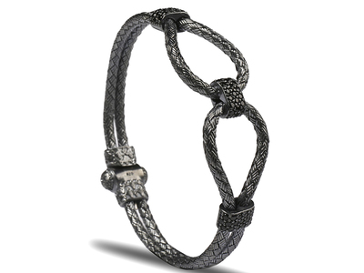 Photo of Onyx Designer Men's Bracelets & Cuffs Infinity Bangle // Gunmetal Plated (S) by Touch Of Modern