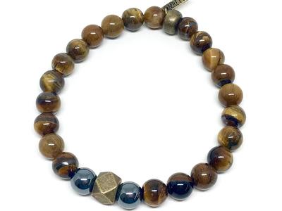 Photo of Mr Ettika Powerful Stone + Leather Bracelets Beaded Stretch Bracelet // Tiger's Eye + Hematite by Touch Of Modern