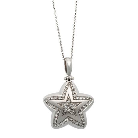Vintage Recarlo 18k Two-Tone Gold Diamond Star Pendant Necklace