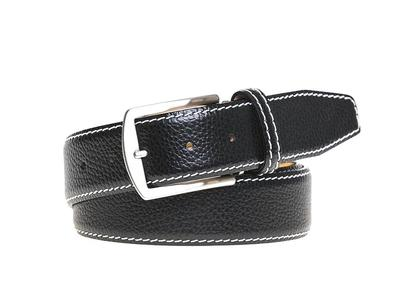 Photo of Roger Ximenez Made To Order Leather Belts Italian Pebble Grain Belt // Black + White (30) by Touch Of Modern