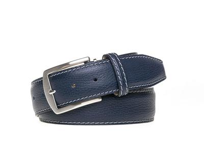 Photo of Roger Ximenez Made To Order Leather Belts Italian Pebble Grain Belt // Navy + Gray (30) by Touch Of Modern