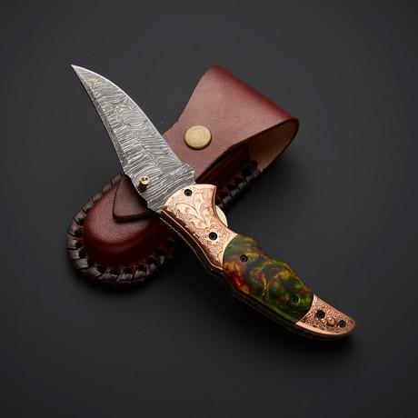 Handmade Damascus Liner Lock Folding Knife // 2738