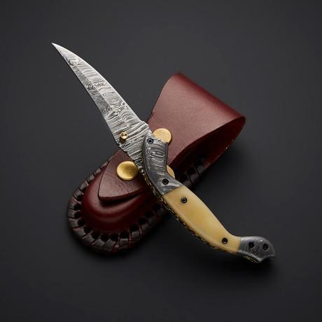 Damascus Liner Lock Folding Knife // 2737