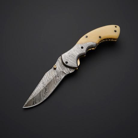 Handmade Damascus Liner Lock Folding Knife // 2739