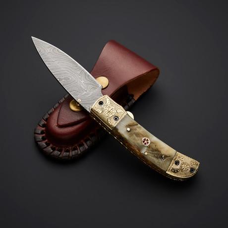 Handmade Damascus Liner Lock Folding Knife // 2743