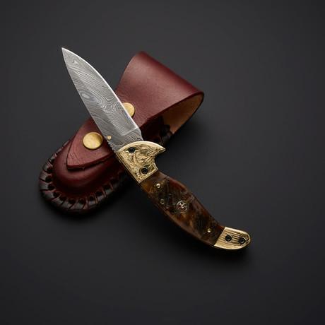 Handmade Damascus Liner Lock Folding Knife // 2744