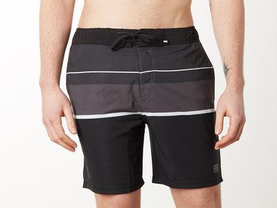 Photo of Projek Raw Fresh Swim Shorts & Tees Striped 4 Way Stretch Swim Shorts // Black (M) by Touch Of Modern