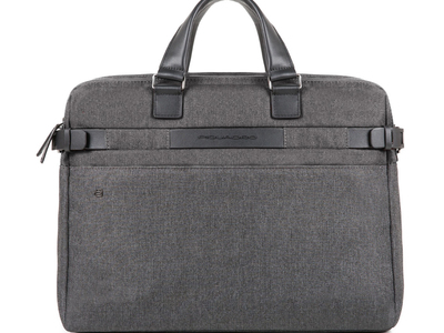 Photo of Piquadro Professional Luggage & Bags Double Compartment Leather Briefcase // Gray by Touch Of Modern