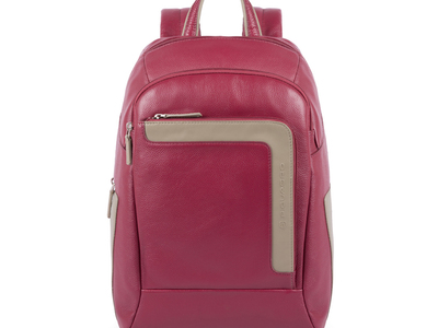 Photo of Piquadro Professional Luggage & Bags Medium Backpack Leather // Bordeaux + Taupe by Touch Of Modern