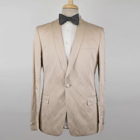Versace // Cotton Blend Tuxedo Sport Coat // Beige (Euro: 48)