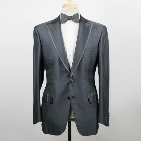 Brioni // Pallavicin Silk Tuxedo Sport Coat // Taupe + Gray (Euro: 48)