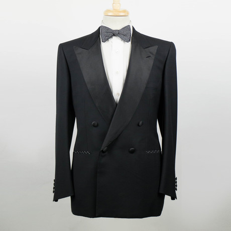 Brioni // Wool Double Breasted Tuxedo Suit // Black (Euro: 48)