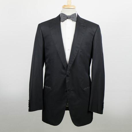 Brioni // Platone Silk Blend Peak Lapels Tuxedo Suit // Black (Euro: 48)