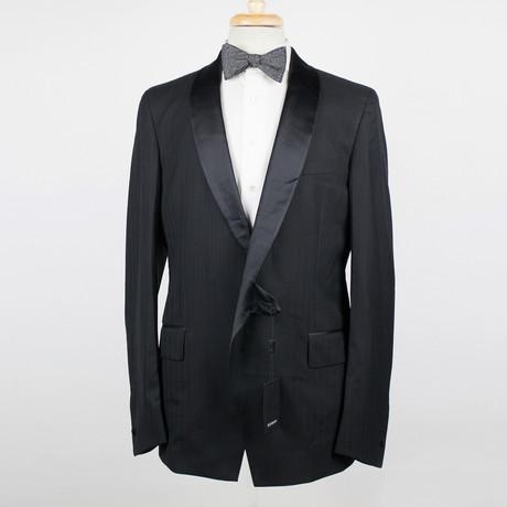 Yves Saint Laurent Paris // Wool Tuxedo Sport Coat Blazer // Black (Euro: 48)