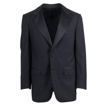 D'Avenza // Wool 2 Button Tuxedo Sport Coat Blazer // Black (Euro: 48)