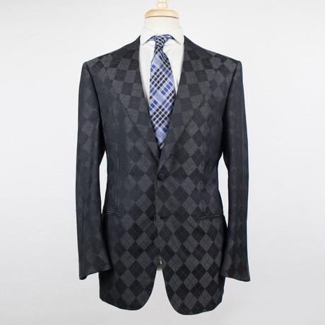 D'Avenza // Pattern Wool Blend Tuxedo Sport Coat // Gray + Black (Euro: 48)