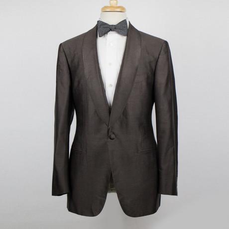 D'Avenza // Polka Dots Silk Tuxedo Sport Coat // Brown (Euro: 48)