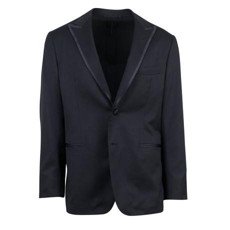 D'Avenza // Wool Satin Trim Tuxedo Dinner Jacket V2 // Black (Euro: 48)