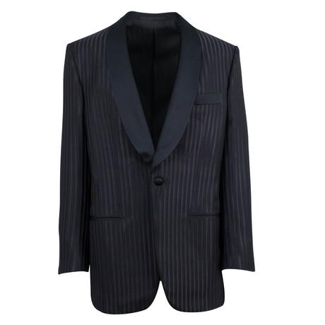 D'Avenza // Wool-Silk Satin Trim Tuxedo Sport Coat // Black (Euro: 48)