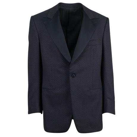 D'Avenza // Wool Satin Trim Tuxedo Dinner Jacket V1 // Black (Euro: 48)