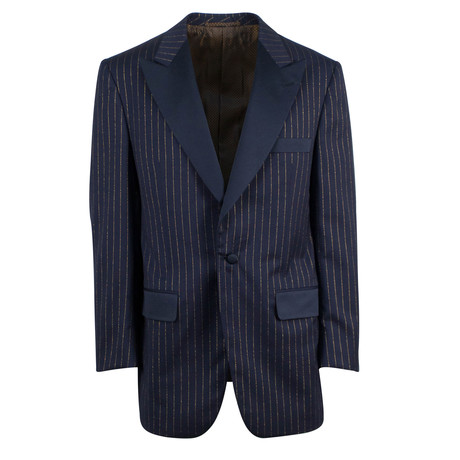 D'Avenza // Wool Peak Lapels Tuxedo Dinner Jacket // Blue (Euro: 48)