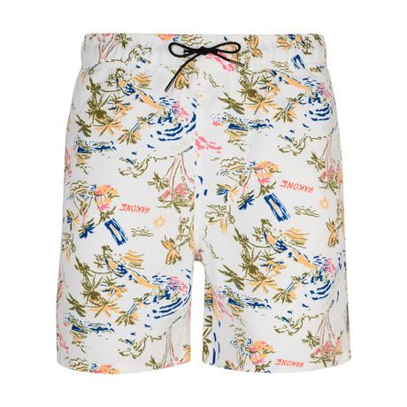 Aichi Hawaiian Print Swim Shorts // White (S)