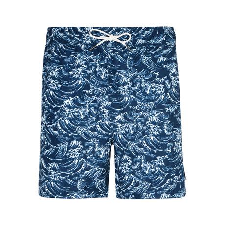 Kanagawa Wave Print Swim Shorts // Navy (S)