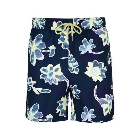 Loma Floral Print Swim Shorts // Navy (S)