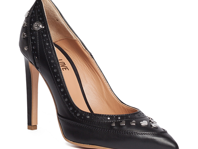Photo of Love Moschino Designer Women's Shoes Hearted Studded Heel // Black (IT: 36) by Touch Of Modern
