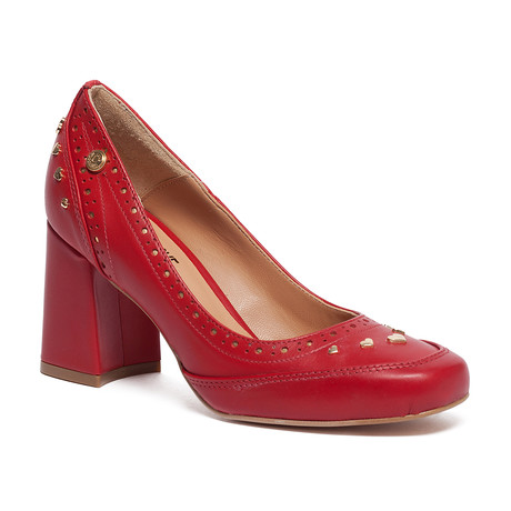 Hearted Studded Block Heel // Red (IT: 35)