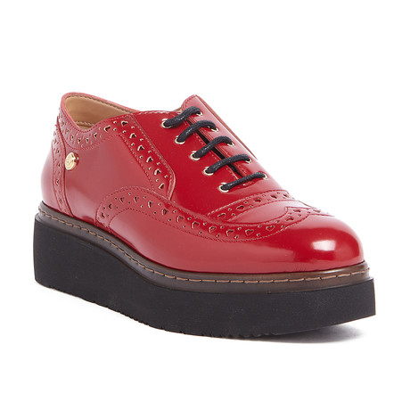 Leather Platform Lace-Up Shoes // Red (IT: 36)