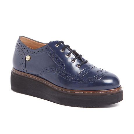 Leather Platform Lace-Up Shoes // Blue (IT: 37)