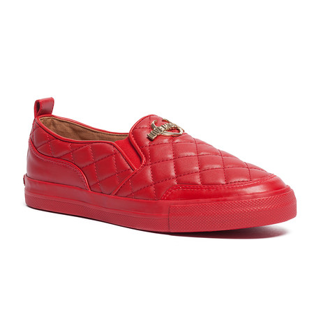 Leather Quilted Slip-On // Red (IT: 35)