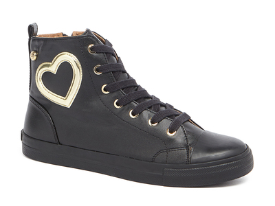 Photo of Love Moschino Designer Women's Shoes High-Top Leather Heart Sneakers // Black (IT: 36) by Touch Of Modern