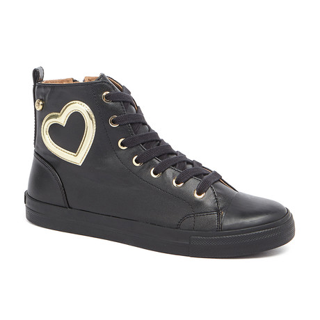High-Top Leather Heart Sneakers // Black (IT: 36)